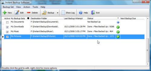Capture d'écran EzySoft Instant Backup Software