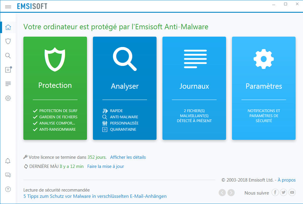 Capture d'écran Emsisoft Anti-Malware