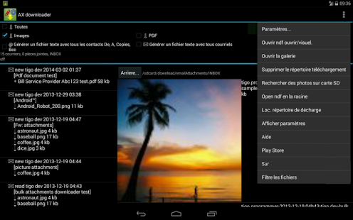 Capture d'écran Download piece jointe de email
