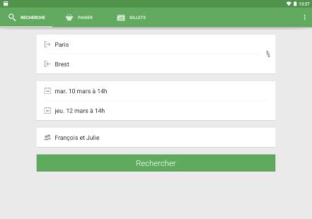 Capture d'écran Capitaine Train : billets SNCF