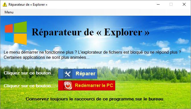 Capture d'écran Réparation de l'Explorer