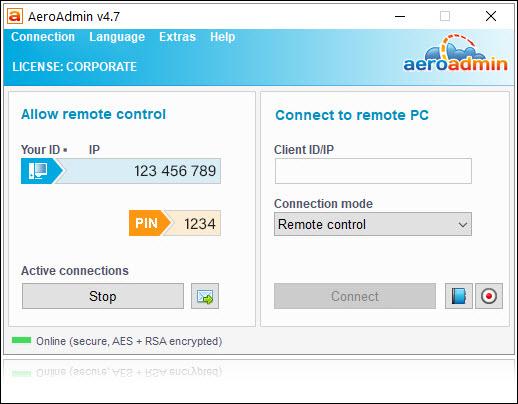 Capture d'écran AeroAdmin