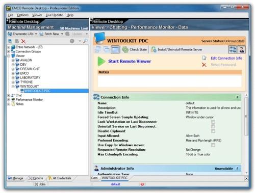 Capture d'écran EMCO Remote Desktop Professional