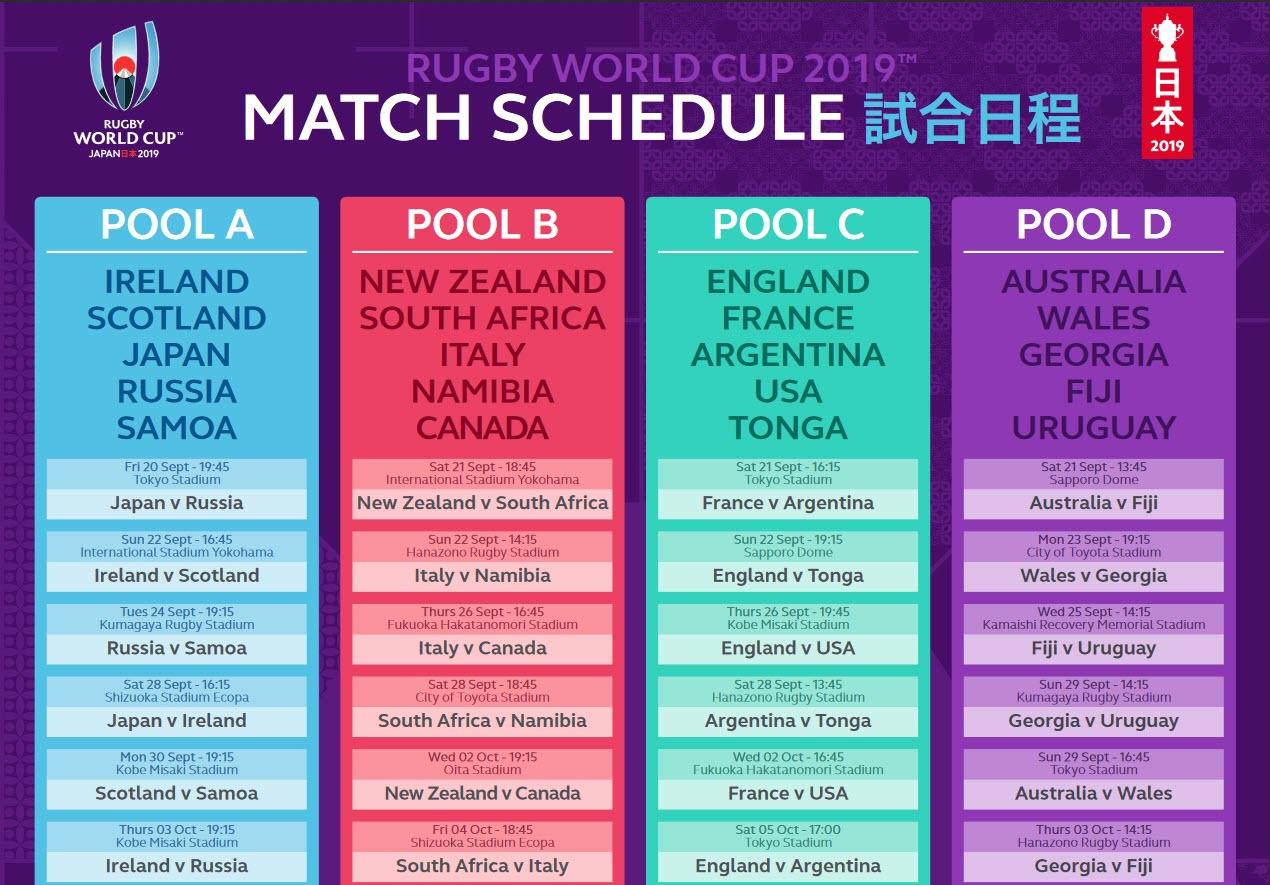 Capture d'écran Calendrier Coupe du Monde de Rugby 2019 PDF