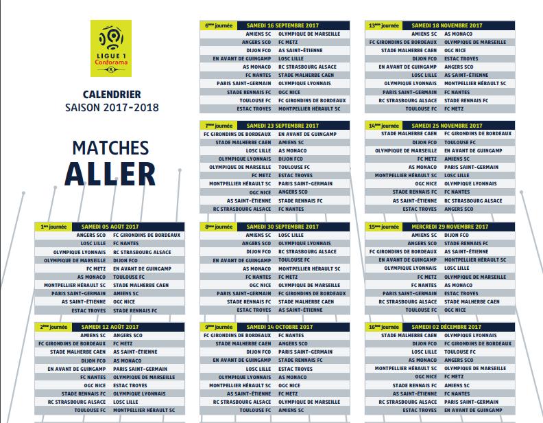 Capture d'écran Calendrier officiel Ligue 1 2017-2018