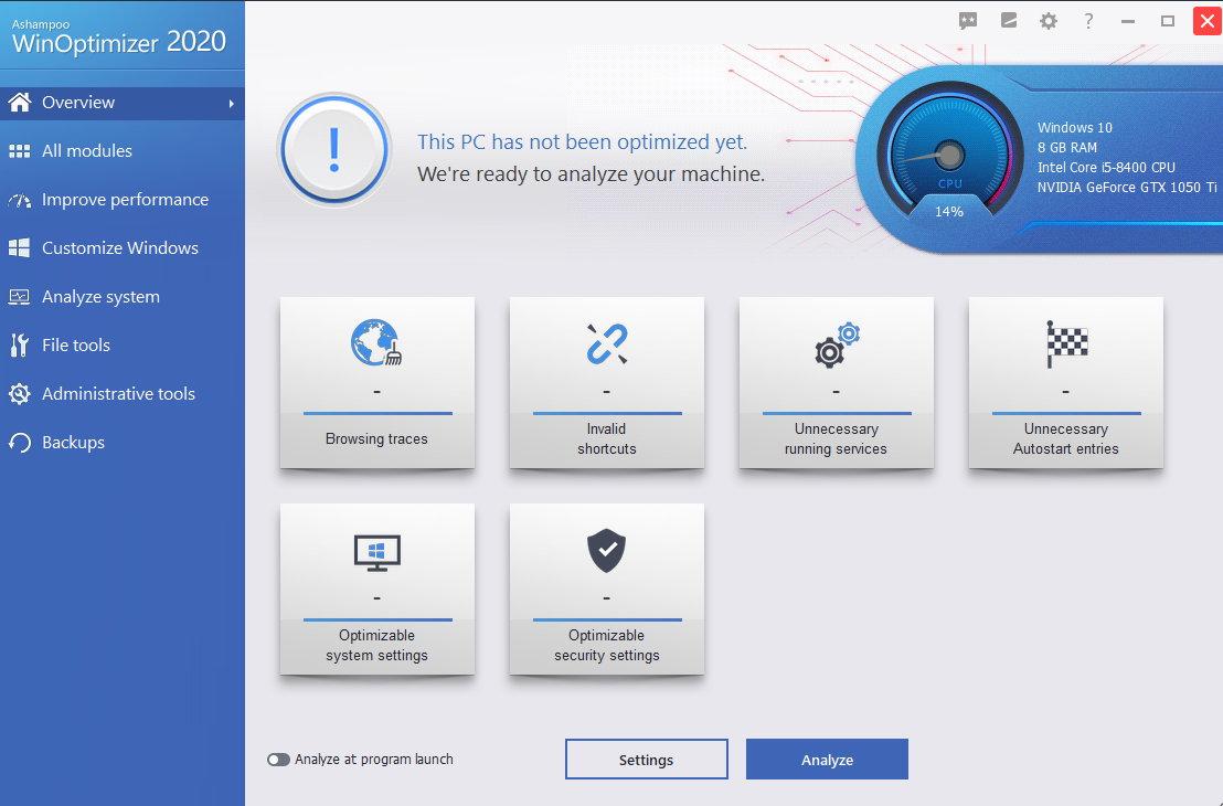 Capture d'écran Ashampoo WinOptimizer