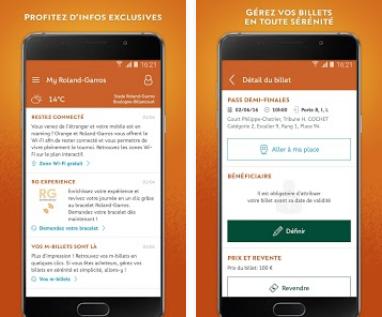 Capture d'écran My Roland Garros Android