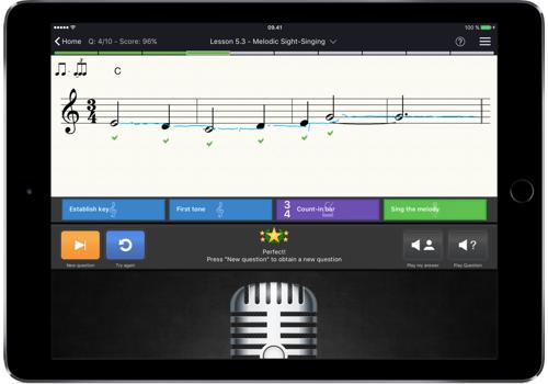 Capture d'écran EarMaster – Solfège, oreille et rythme