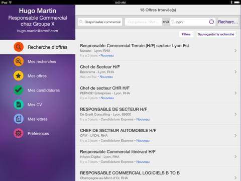 Capture d'écran Emploi Monster iOS