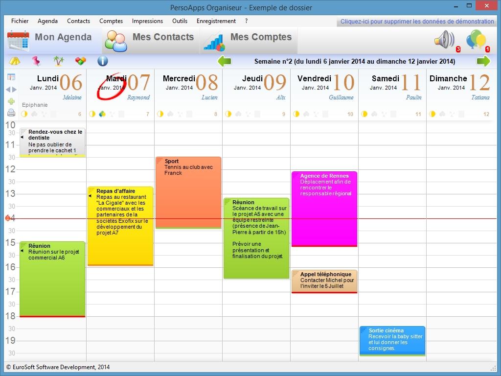 Capture d'écran PersoApps Organiseur