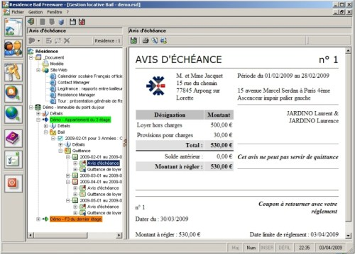 Capture d'écran Residence Bail freeware