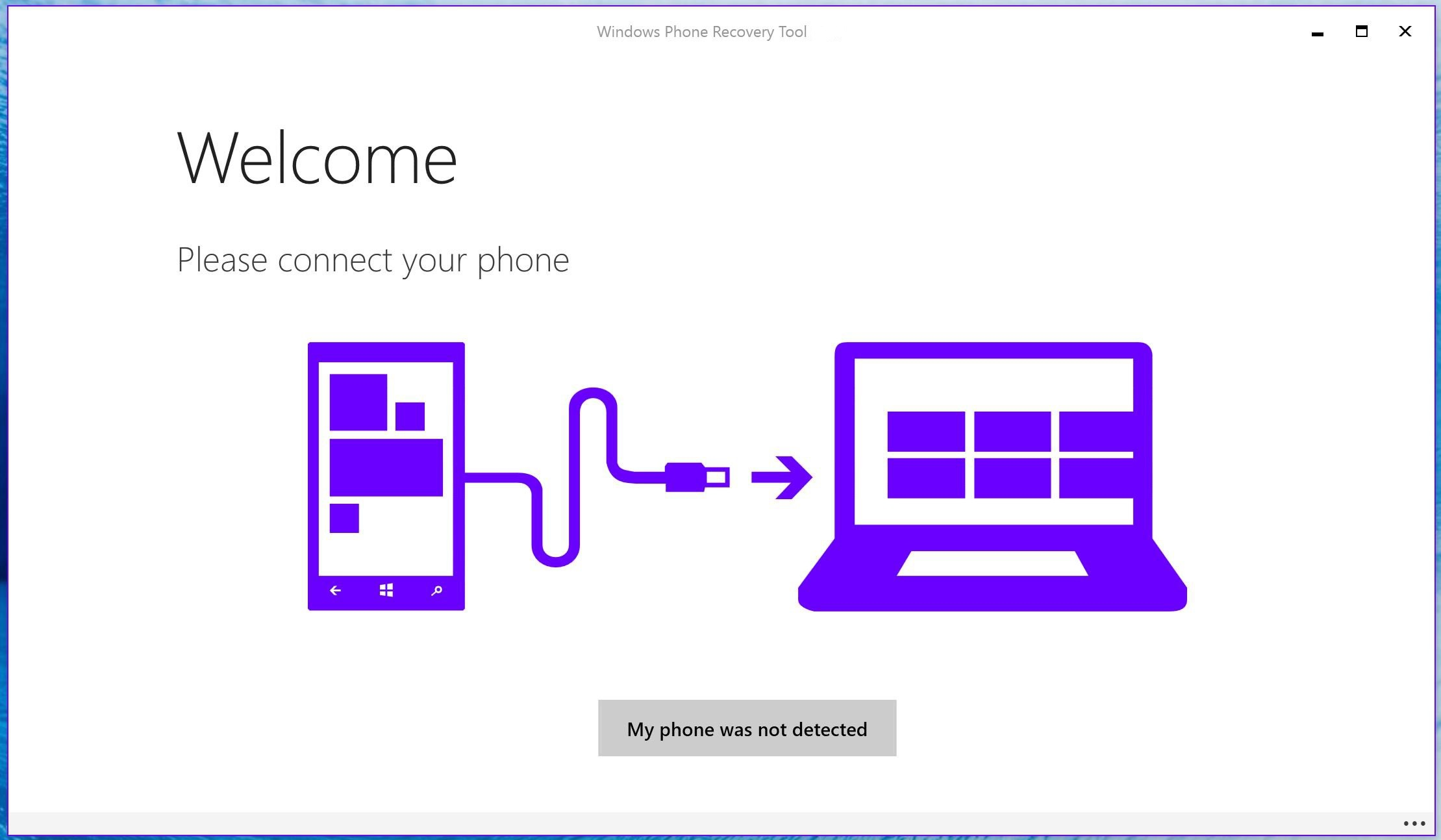 Capture d'écran Windows Device Recovery Tool
