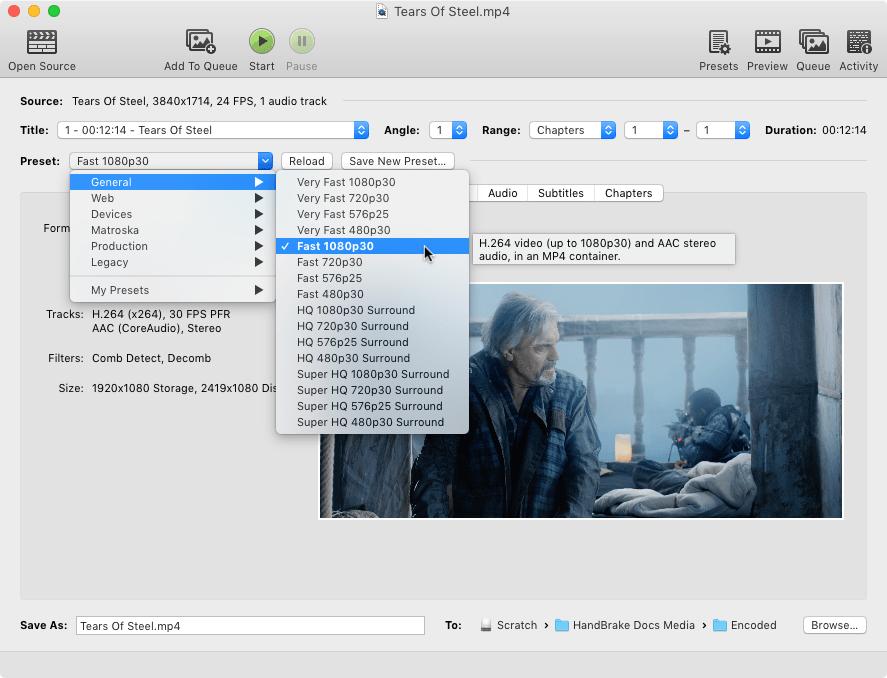 Capture d'écran Handbrake Mac