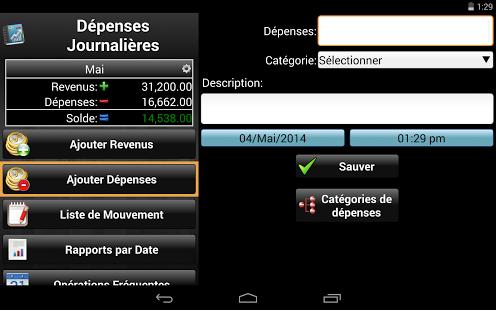 Capture d'écran Dépenses Journalières