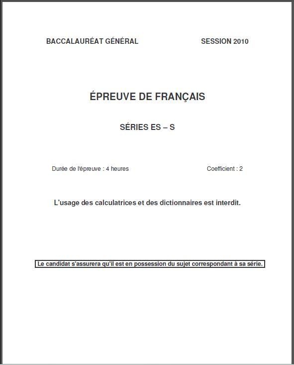 Capture d'écran Sujet Bac Français ES 2010