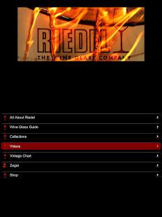 Capture d'écran Riedel Wine Glas Guide