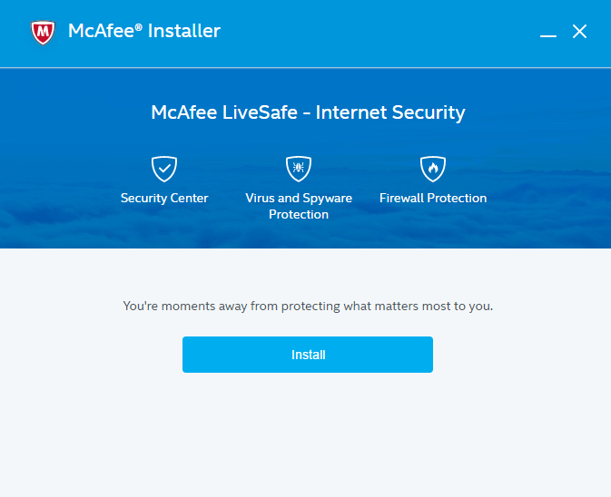 Capture d'écran McAfee LiveSafe