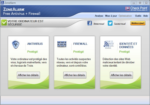 Capture d'écran ZoneAlarm Free Antivirus + Firewall