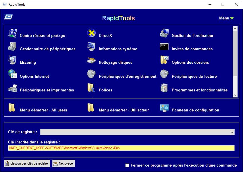 Capture d'écran RapidTools