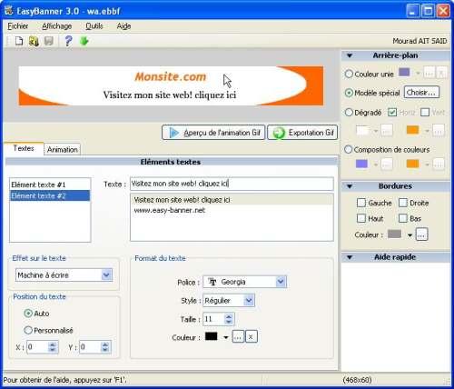 Capture d'écran EasyBanner