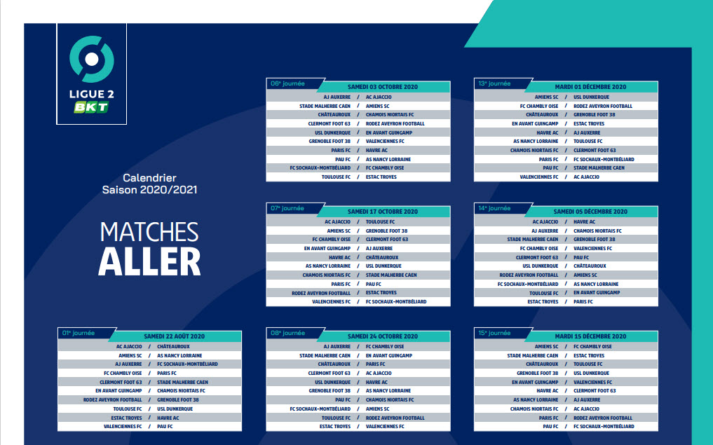Capture d'écran Calendrier ligue 2 2020 – 2021 PDF