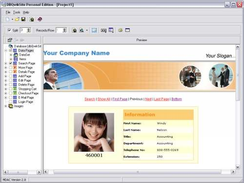 Capture d'écran dbQwikSite PE