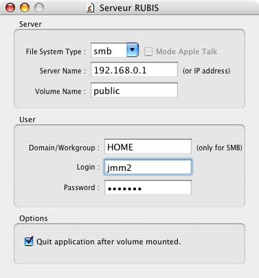 Capture d'écran AutomountMaker