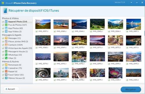 Capture d'écran Jihosoft Récupération de Données iPhone