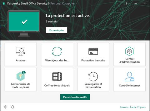 Capture d'écran Kaspersky Small Office Security
