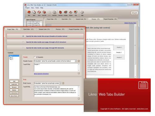 Capture d'écran Likno Web/HTML Tabs Builder
