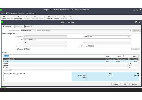 Capture d'écran Sage 100cloud Comptabilité
