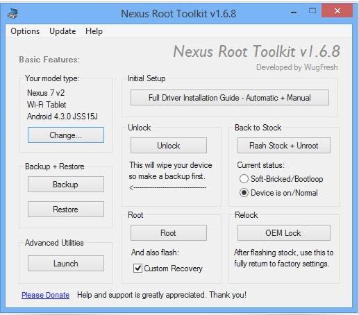 Capture d'écran Nexus Rooting Toolkit