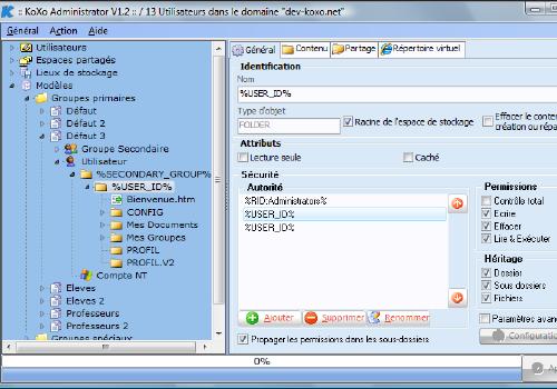 Capture d'écran KoXo Administrator