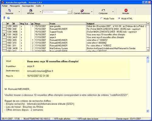 Capture d'écran RomArchivageMails