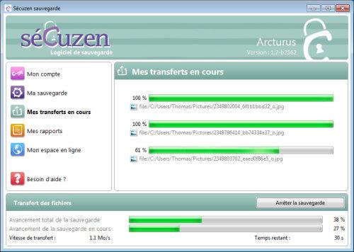 Capture d'écran Secuzen Windows 64