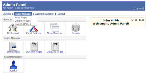 Capture d'écran PHP AdminPanel