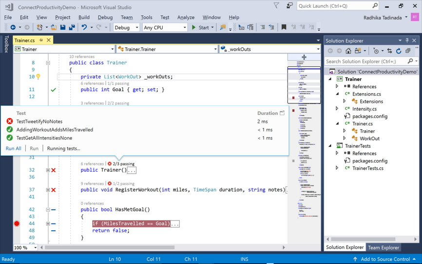 Capture d'écran Visual Studio 2019 Professional