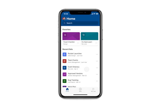 Capture d'écran Microsoft Lists Android