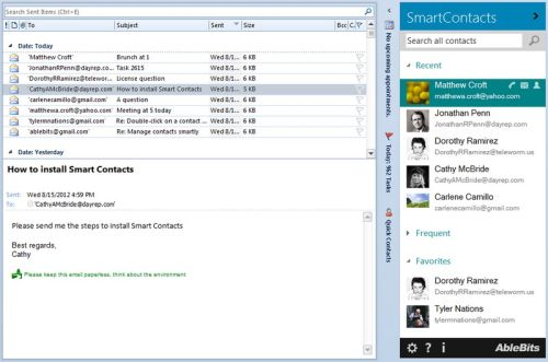 Capture d'écran Ablebits.com Smart Contacts for Outlook