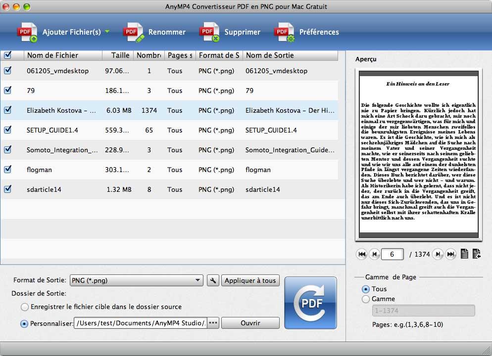 Capture d'écran AnyMP4 Convertisseur PDF en PNG pour Mac Gratuit
