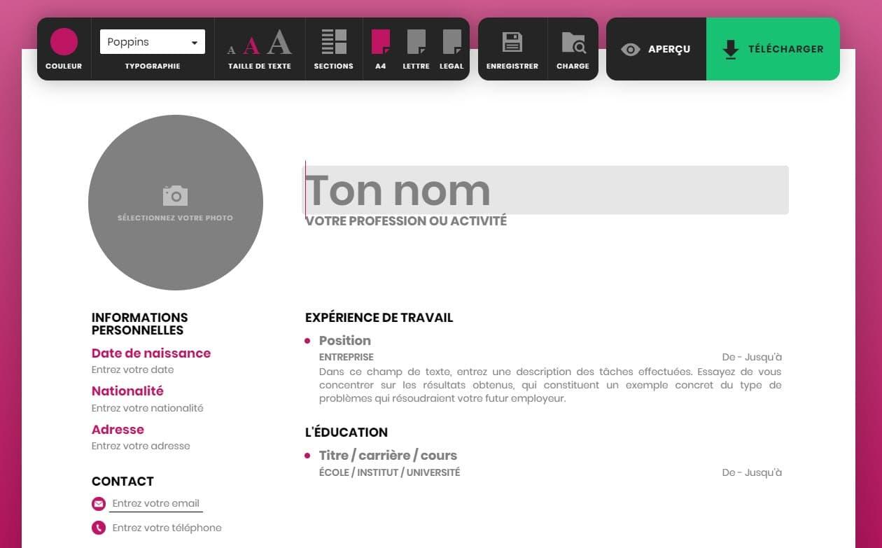 Capture d'écran Resume Maker Online