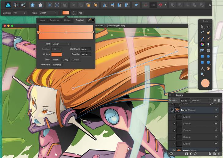 Capture d'écran Affinity Designer Mac