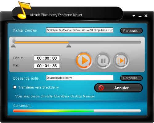 Capture d'écran Xilisoft BlackBerry Sonnerie Créateur