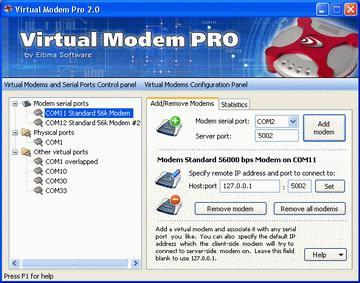 Capture d'écran Virtual Modem PRO