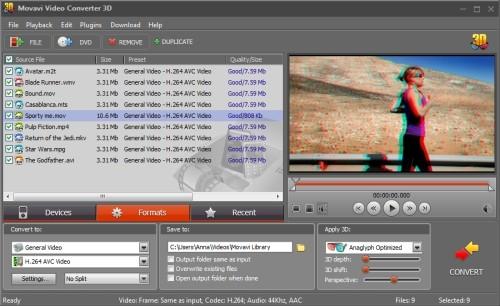 Capture d'écran Movavi Video Converter 3D