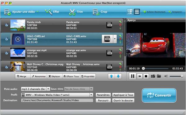 Capture d'écran Aiseesoft WMV Convertisseur pour Mac