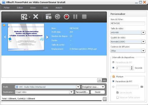 Capture d'écran Xilisoft PowerPoint en Vidéo Converter Gratuit