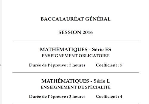Capture d'écran Bac Mathématiques 2016 Séries L-ES Pondichéry