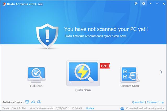 Capture d'écran Baidu Antivirus 2013