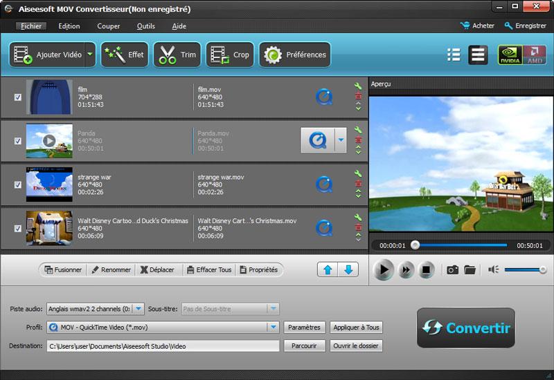 Capture d'écran Aiseesoft MOV Convertisseur
